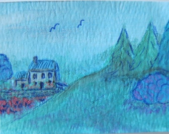 Original Cottage Watercolor Painting ACEO (Art Trading Card)