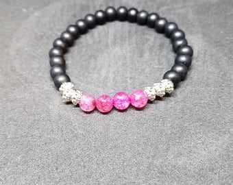 Black and Pink Stretch Bracelet