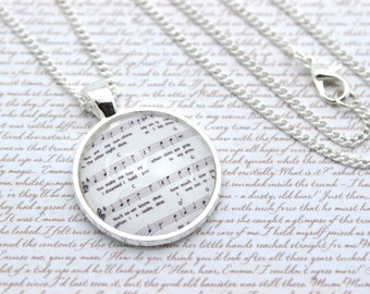 You Are My Sunshine, Music Notes, Sheet Music, Lyrics Necklace or Keychain, Keyring