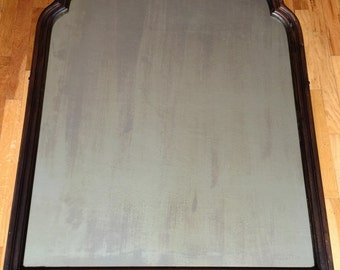Vintage Real Wood Mirror with Scalloped Top
