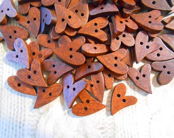 Natural Wood Heart Buttons 20 mm Brown Heart Shaped Buttons Button Crafts Button Art Sewing Knitting Crochet Buttons with Hearts Yarn Crafts