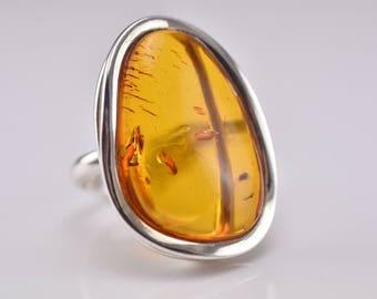 Amber Statement Ring - Cogac Amber Ring - Amber Silver Ring - Large Amber Ring - Cognac Amber - Baltic Amber Jewellery - Adjustable Ring -