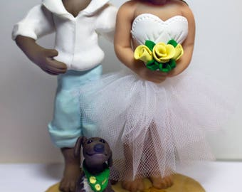 Cake Topper, Wedding, Bride & Groom, Polymer, Made in Nova Scotia