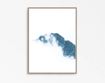 Photography Mountains, Landscape Print, Clouds Photo, Art Print, Modern, Minimal, Instant Download, Home Decor, Blue, Nordic Print Wall,