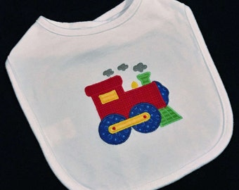 Baby boy applique train bib