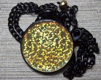 Gold hologram pendant necklace sealed in clear resin // gift for her // holographic glitter // soft grunge // nu goth  // color shifting