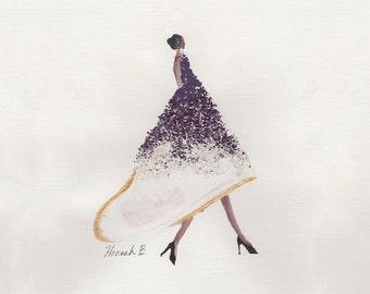 Original Acrylic Painting Fashion Illustration Print - Glitter Ombrè