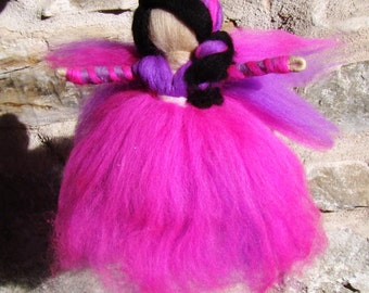 purple pixie doll Waldorf birthday fair pocket fairy felted Waldorf pink angel purple clown girl Christmas gifts Waldorf toys Steiner toys
