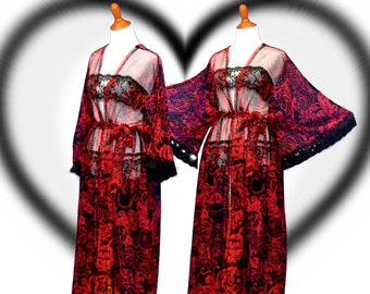 Sweetheart kimono, red sheer cardigan, valentine date robes, gothic kimono, trendy chic robes, floral maxi robes, lady long kimono,