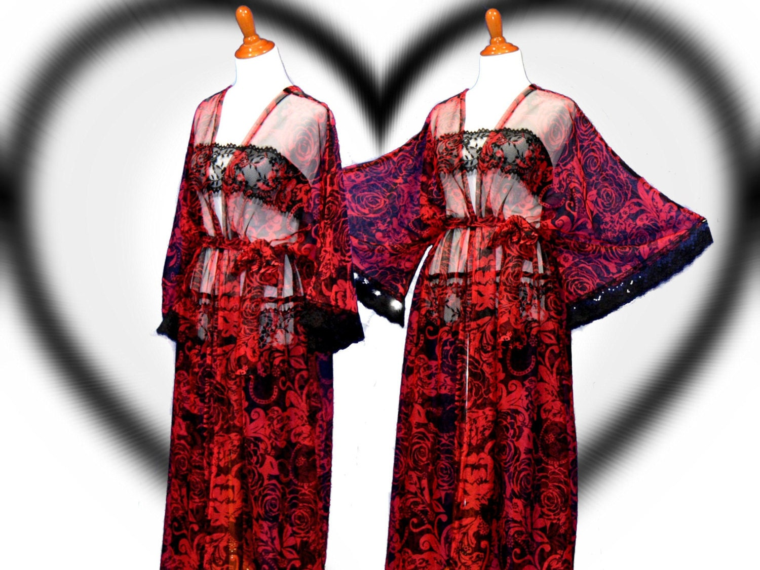 Sweetheart kimono red sheer cardigan valentine date robes