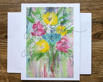 Flower Bouquet Blank Greeting Card with Envelope / Print of my Original Acrylic Art/ Art Print / All Occasion / Blank Greeting Card