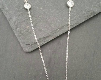 Genuine 925 Sterling Silver 7 Cubic Zirconia On Long 75cm Necklace Chain Gift