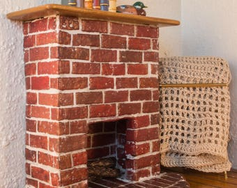 Red Brick Fireplace -- Dollhouse Miniature 1:12 Scale