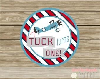 Airplane Birthday Printable Cupcake toppers, labels, Vintage Plane, digital printable