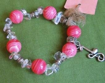 Chalcedony bracelet,Bracelets,Pink bracelets,Treble Clef Bracelet,Treble Clef,Music jewelry,Music gift, Pink music jewelry,Musician Gift