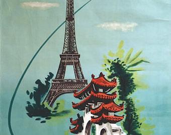 Vintage Air Vietnam Flights Saigon To Paris Poster  A3 Print