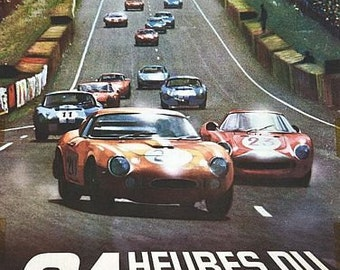 Vintage 1966 Le Mans 24 Hour Race Motor Racing Poster A3 Print