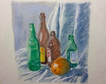 Still Life with Bottles and an Orange