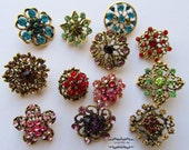 12 Rhinestone Button Antique Bronze Brooch Lot Brass Multi Color Pin Mixed Wholesale Crystal Wedding Bouquet Brooch Bridal Hair Cake DIY Kit