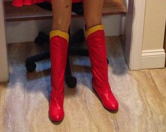 Supergirl 80's style movie boots custom made slip on and soft!