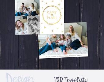 Christmas Card Template for Photographers | Christmas Photo Card Template for Photoshop | Holiday Card Templates | Photography Templates
