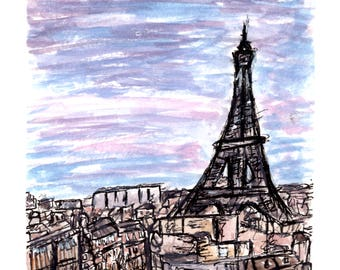 Take Me To Paris Watercolor Digital Print