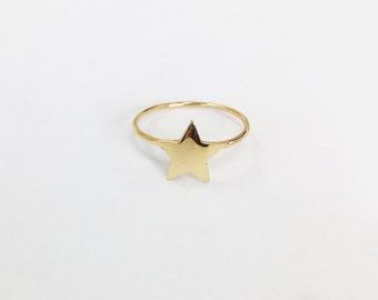 Star-Shaped Ring, 14K Solid Gold Ring, 14K Yellow Gold Ring, Christmas  Present, Engagement Ring