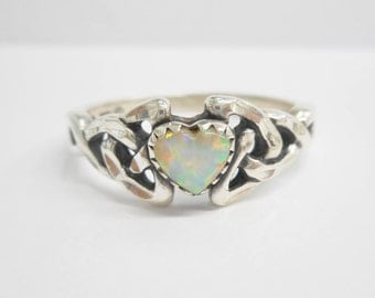 Opal Ring, Sterling Opal Ring, Silver Opal Ring, Sterling Opal, Vintage Sterling Silver Heart Shaped Created Fire Opal Ring Sz 9.75 #3031