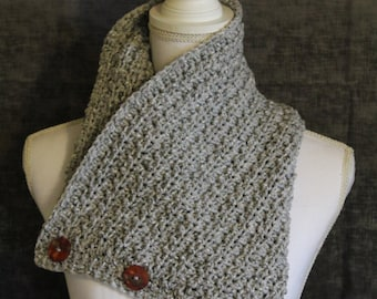 Sale - Handmade Crocheted Cowl - Grey