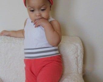 Baby leggings - baby joggers- toddler leggings - coral leggings - striped leggings - baby pants
