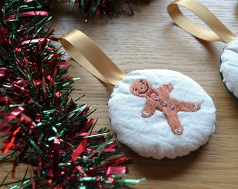 Christmas Gingerbread Man Decoration,  Christmas Tree Decoration, Embroidered Gingerbread Man, Christmas Embroidery
