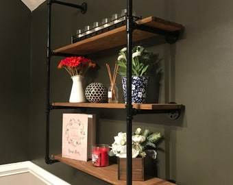 Handmade Industrial Pipe Shelf, Real Oak Wood Shelves