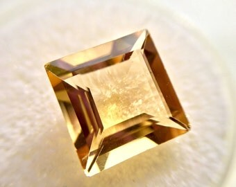 One Natural Yellow 5.07 carat Citrine in a Square Shape of Fine Open Color w/ IAS Jewelry Appraisal WAS 276 NOW 225!