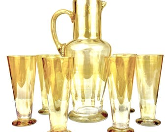 MidCentury Vintage Marigold or Yellow Greek Revival Glassware Punch Set: Pitcher with Reeded handle and matching Cups