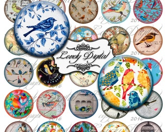 "1.5"" Digital Download Bird Circles Jewelry Charm Bottlecap Scrapbook Embellishment Printable Collage Sheet"
