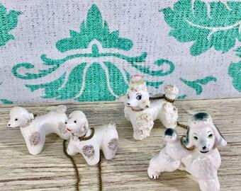 Vintage 1950s Poodle Figurine, Vintage Poodle Knick Knack, Ceramic Chained Poodle Family, Poodle Family Figurine