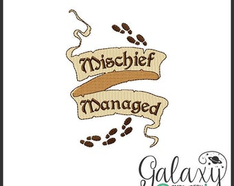 Harry Potter Embroidery design geek embroidery Marauder's Map mischief managed scroll machine embroidery design harry potter quilting block