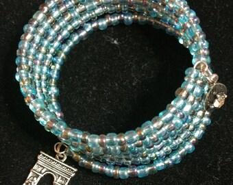 Memory Wire Wrap Bracelet with Arc de Triomphe Charm