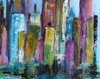 "Abstract acrylic painting, canvas, 60 X 90 cm, title: ""skyline with magenta"""