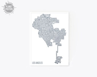 10 COLORS Los Angeles California Typography Map Poster Skyline Poster Art Print Wall Modern Minimalist United States USA Typographic Decor