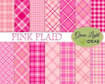 Pink Plaid Digital Papers, Plaid Printable Papers, Commercial Use Scrapbook Backgrounds, Plaid Pink Digital Textures, Plaid Digital Patterns