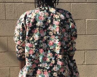 Vintage Floral Denim Blazer