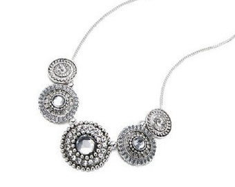 Silver and Crystal Necklace Silver NK4023j