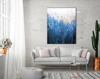 Original ABSTRACT PAINTING 30x40 Canvas Art Blue Abstarct Original Artwork Large Painting Painting Wall Art Minimalist Painting Modern Art