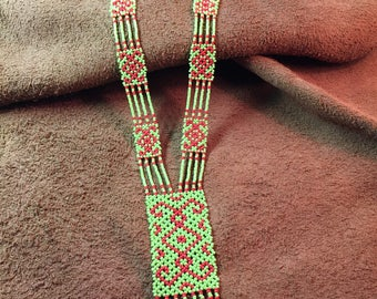Native American Style Glass Seed Bead Blanket Necklace