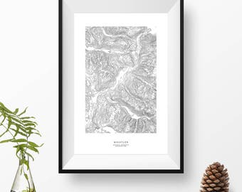 Whistler, British Columbia, Canada | Topographic Print, Contour Map, Map Art | Home or Office Decor, Gift for Mountain Lover or Skiier