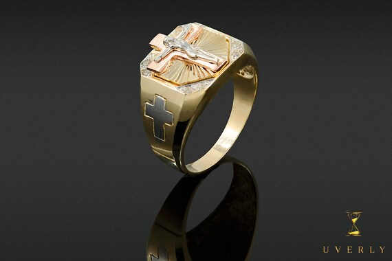 14k Solid Yellow Gold Men's Jesus Christ Ring Uverly Jewelry