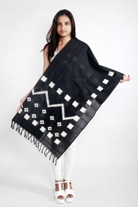 Black Handloom Ikat Mercerised Cotton Dupatta (Stole, Shawl, Scarf)