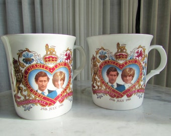 vintage set Crown Trent Prince Charles & Lady Diana commemorate their marriage coffee cups