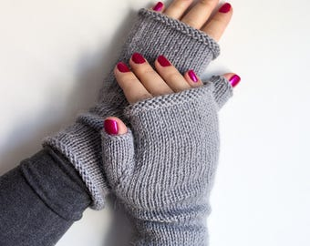 100% Wool & Alpaca Hand Knitted Fingerless Gloves, Handwarmer Mitts, Gray Mittens, Knitted Wrist Warmers, Grey Arm Warmers, Gift Idea